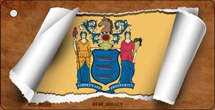 New Jersey Flag Scroll Wholesale Novelty Key Chain