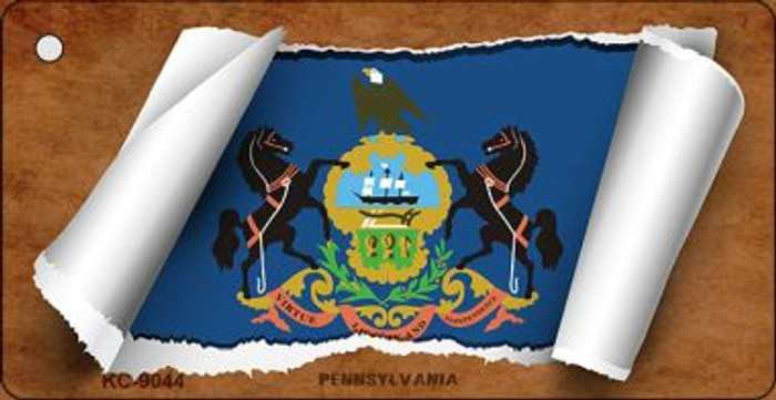 Pennsylvania Flag Scroll Wholesale Novelty Key Chain