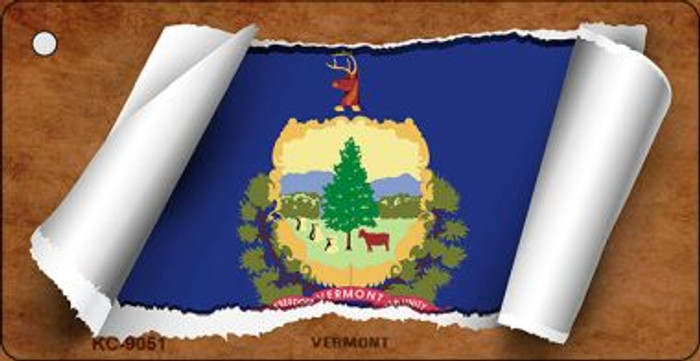 Vermont Flag Scroll Wholesale Novelty Key Chain