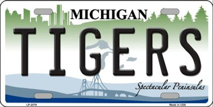 Tigers Michigan State Background Wholesale Metal Novelty License Plate LP-2079