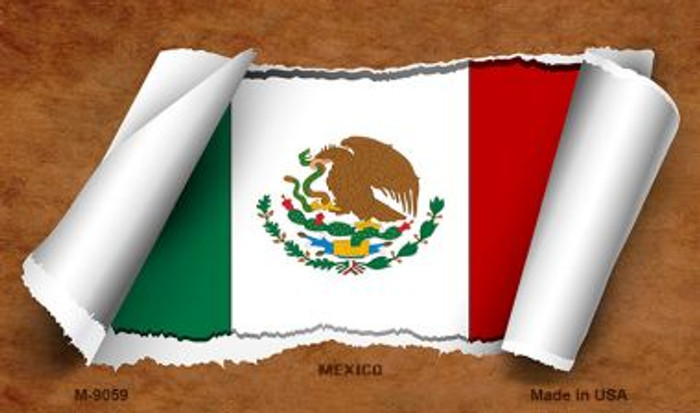 Mexico Flag Scroll Wholesale Novelty Metal Magnet