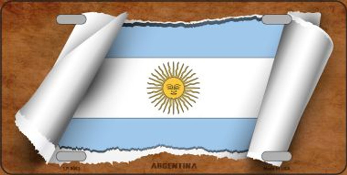 Argentina Flag Scroll Wholesale Metal Novelty License Plate