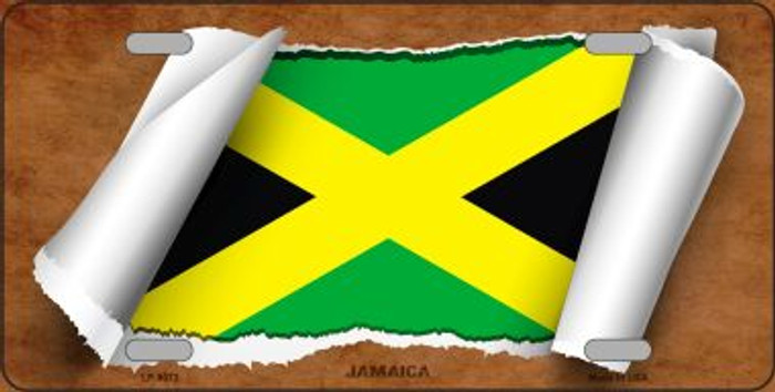 Jamaica Flag Scroll Wholesale Metal Novelty License Plate