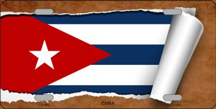 Cuba Flag Scroll Wholesale Metal Novelty License Plate