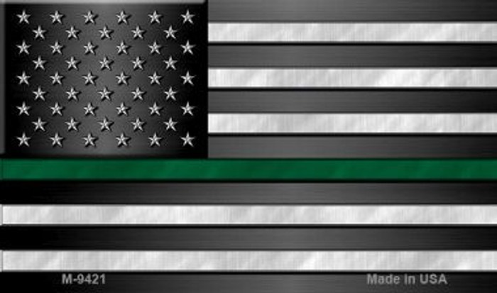 American Flag Thin Green Line Wholesale Novelty Metal Magnet