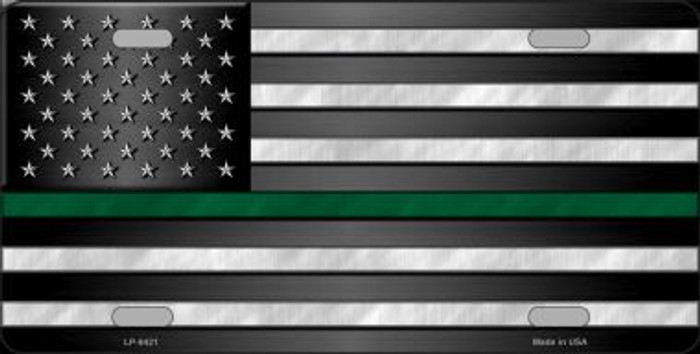 American Flag Thin Green Line Novelty Wholesale Metal License Plate