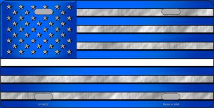 Blue American Flag Thin White Line Novelty Wholesale Metal License Plate