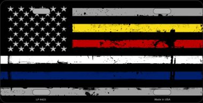 American Flag Police / Fire / EMS Novelty Wholesale Metal License Plate