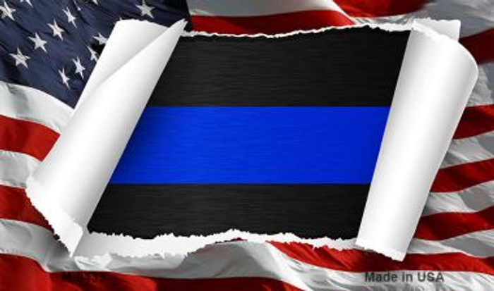 Thin Blue Line Scroll Wholesale Novelty Metal Magnet
