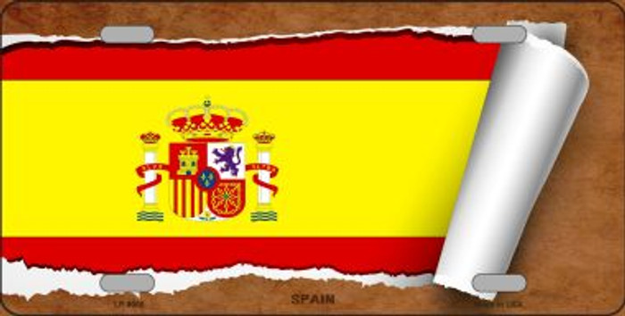 Spain Flag Scroll Wholesale Metal Novelty License Plate