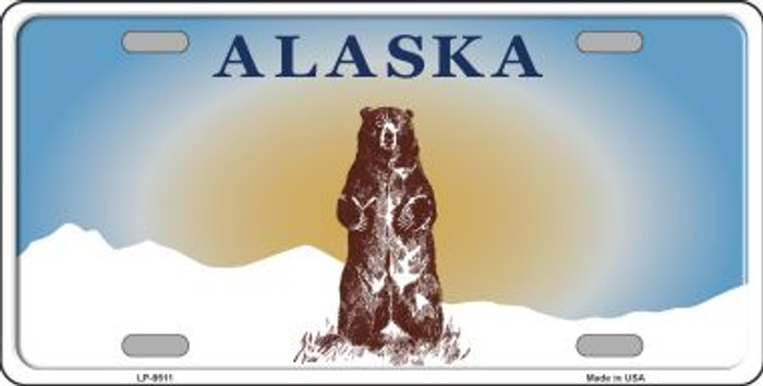 Alaska Bear Background Novelty Wholesale Metal License Plate