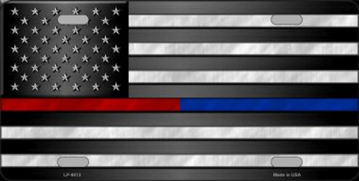 American Flag Police / Fire Novelty Wholesale Metal License Plate