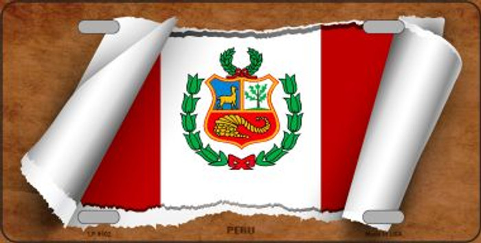 Peru Flag Scroll Wholesale Metal Novelty License Plate