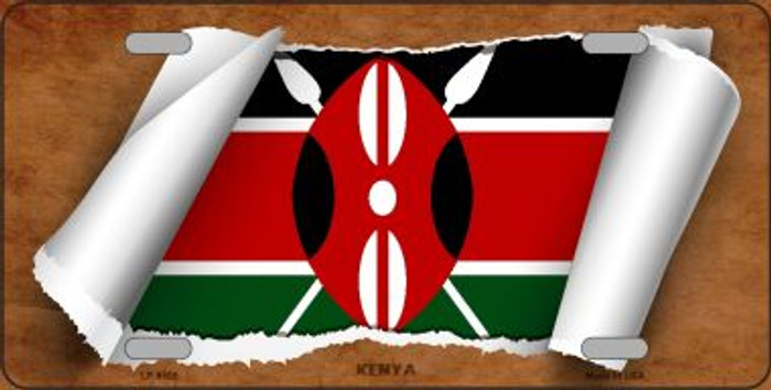 Kenya Flag Scroll Wholesale Metal Novelty License Plate