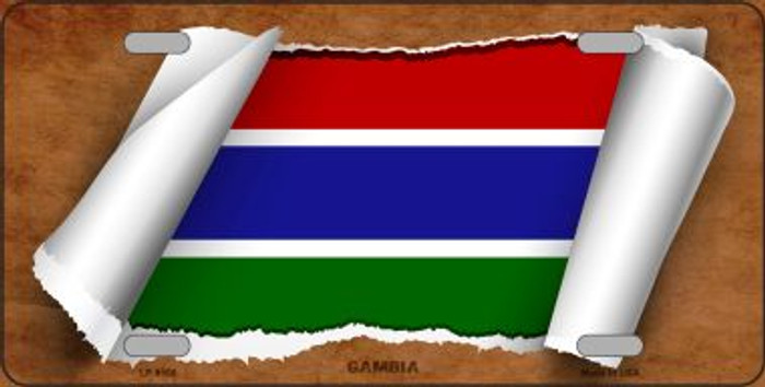 Gambia Flag Scroll Wholesale Metal Novelty License Plate