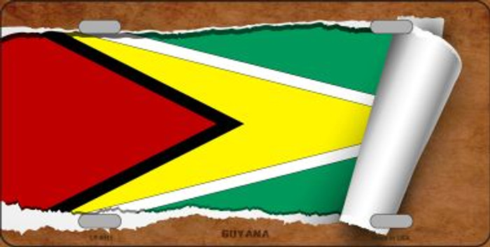Guyana Flag Scroll Wholesale Metal Novelty License Plate