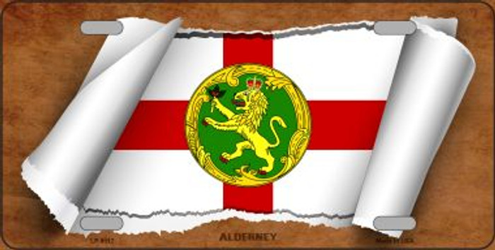 Alderney Flag Scroll Wholesale Metal Novelty License Plate
