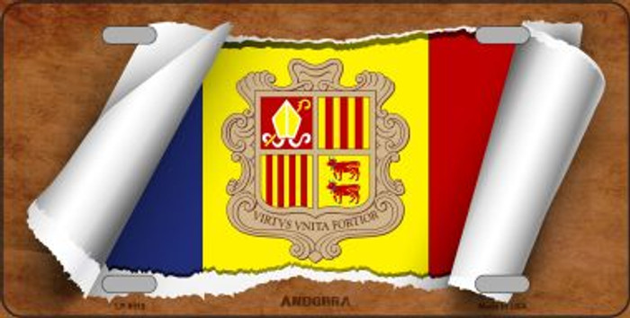 Andorra Flag Scroll Wholesale Metal Novelty License Plate