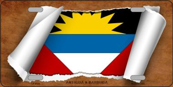 Antigua & Barbuda Flag Scroll Wholesale Metal Novelty License Plate