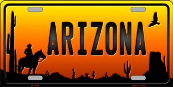 Cowboy Arizona Scenic Background Novelty Wholesale Metal License Plate