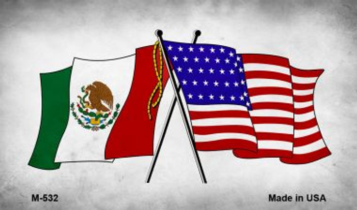 USA Mexico Crossed Flags Wholesale Novelty Metal Magnet