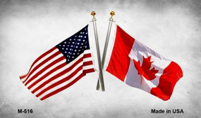USA Canada Crossed Flags Wholesale Novelty Metal Magnet