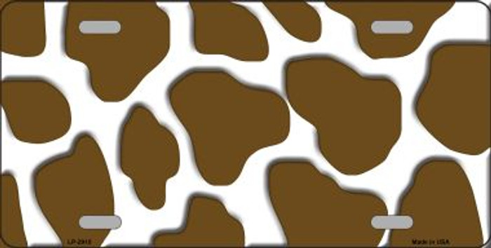 Brown White Giraffe Print Wholesale Metal Novelty License Plate