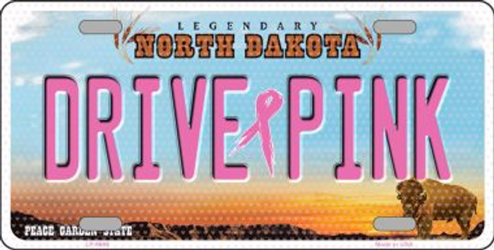 Drive Pink North Dakota Novelty Wholesale Metal License Plate