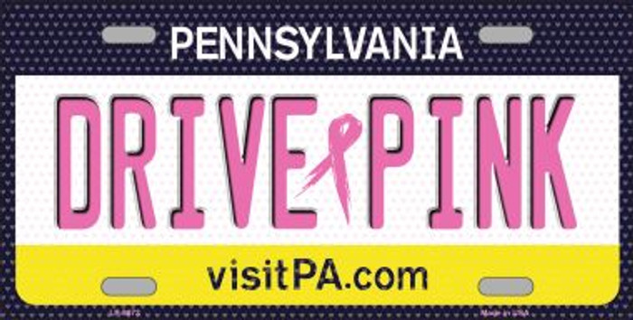 Drive Pink Pennsylvania Novelty Wholesale Metal License Plate