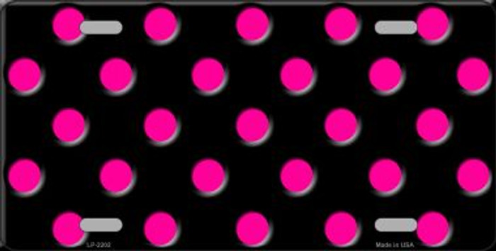 Hot Pink Polka Dots Black Wholesale Metal Novelty License Plate