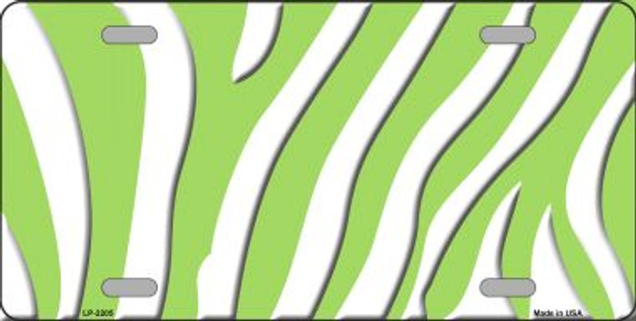 Lime Green White Zebra Print Wholesale Metal Novelty License Plate