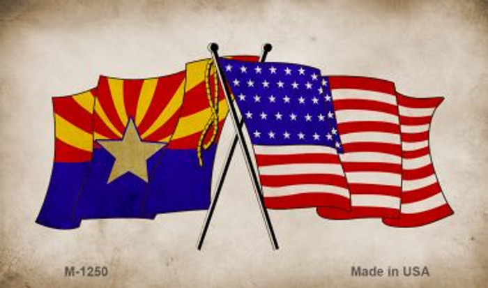 Arizona USA Crossed Flags Wholesale Novelty Metal Magnet