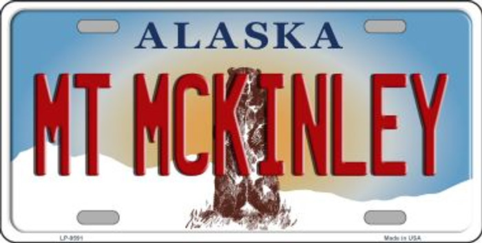 Mt McKinley Alaska State Background Novelty Wholesale Metal License Plate