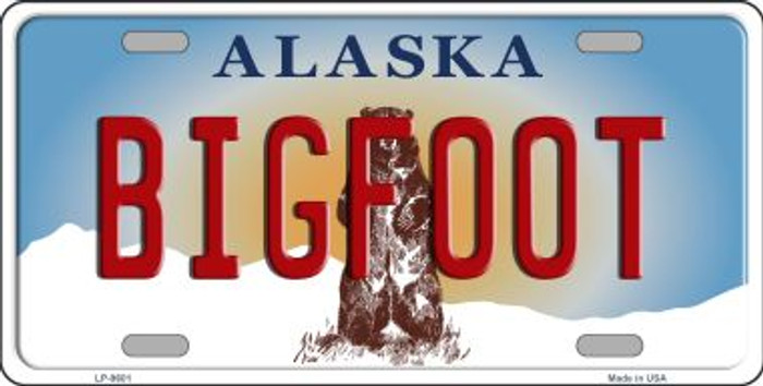 Bigfoot Alaska State Background Novelty Wholesale Metal License Plate