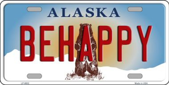 Be Happy Alaska State Background Novelty Wholesale Metal License Plate