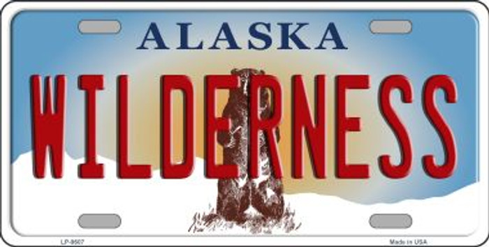 Wilderness Alaska State Background Novelty Wholesale Metal License Plate