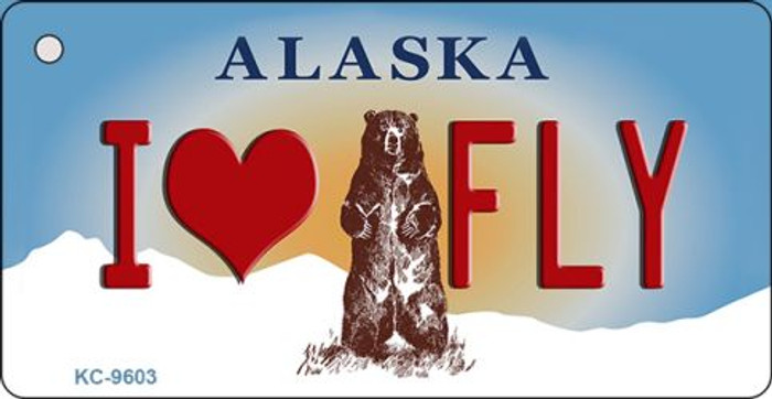 I Love Fly Alaska State Background Wholesale Novelty Key Chain