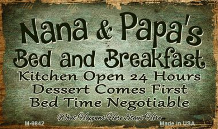 Nana And Papas Bed And Breakfast Wholesale Novelty Metal Magnet