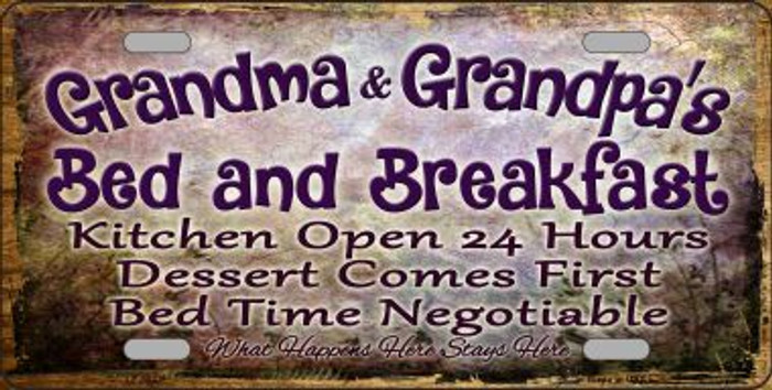 Grandma And Grandpa Bed & Breakfast Wholesale Metal Novelty License Plate