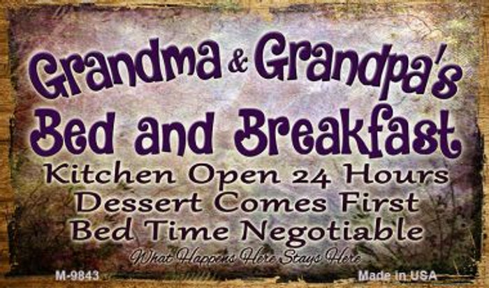 Grandma And Grandpas Bed And Breakfast Wholesale Novelty Metal Magnet M-9843