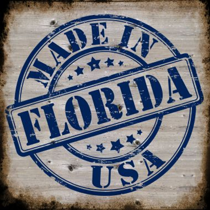 Florida Stamp On Wood Wholesale Novelty Metal Square Sign