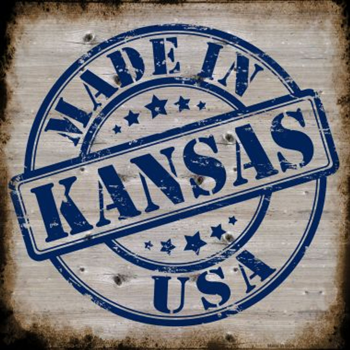 Kansas Stamp On Wood Wholesale Novelty Metal Square Sign