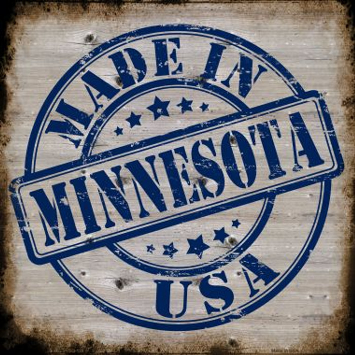 Minnesota Stamp On Wood Wholesale Novelty Metal Square Sign