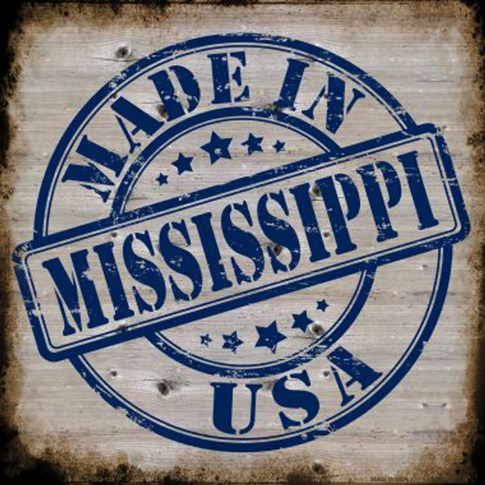 Mississippi Stamp On Wood Wholesale Novelty Metal Square Sign