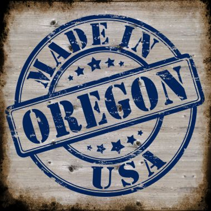 Oregon Stamp On Wood Wholesale Novelty Metal Square Sign