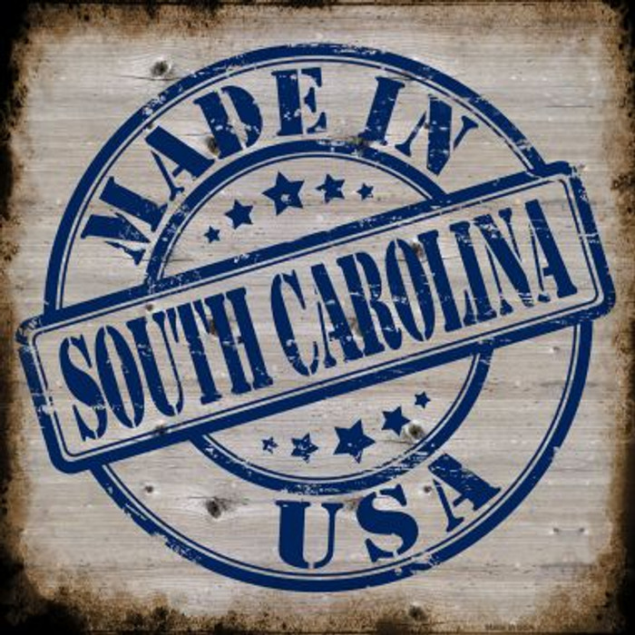 South Carolina Stamp On Wood Wholesale Novelty Metal Square Sign