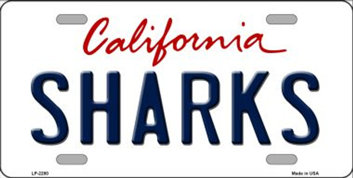 Sharks California Novelty State Background Wholesale Metal License Plate LP-2280