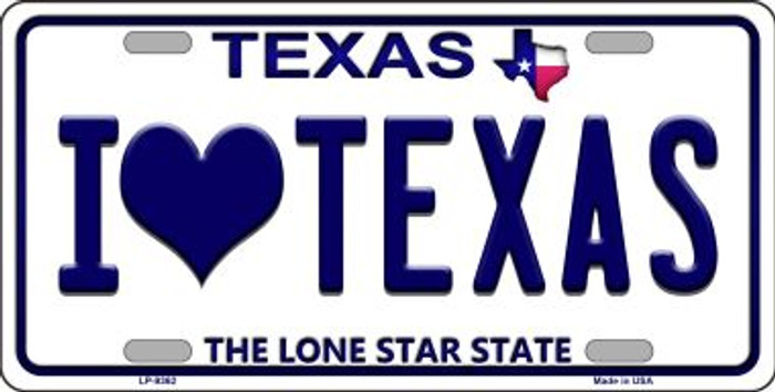 I love Texas Background Novelty Wholesale Metal License Plate