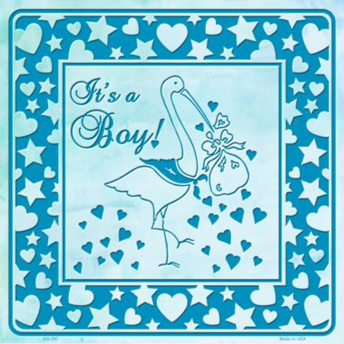 Its A Boy With Stork Wholesale Novelty Metal Square Sign
