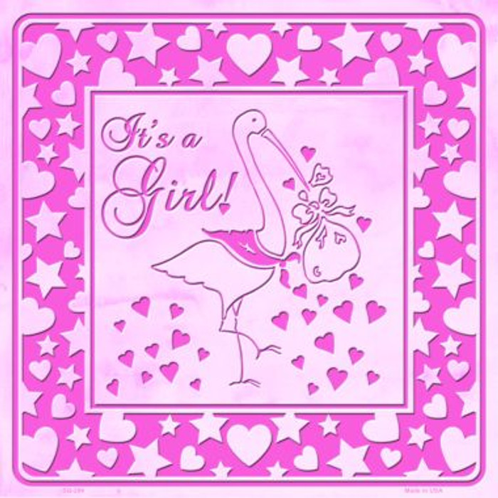 Its A Girl With Stork Wholesale Novelty Metal Square Sign